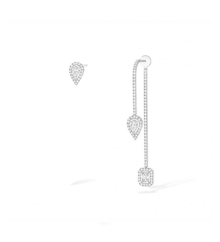 Boucles d'oreille My Twin hameçon puce poire or gris diamants
