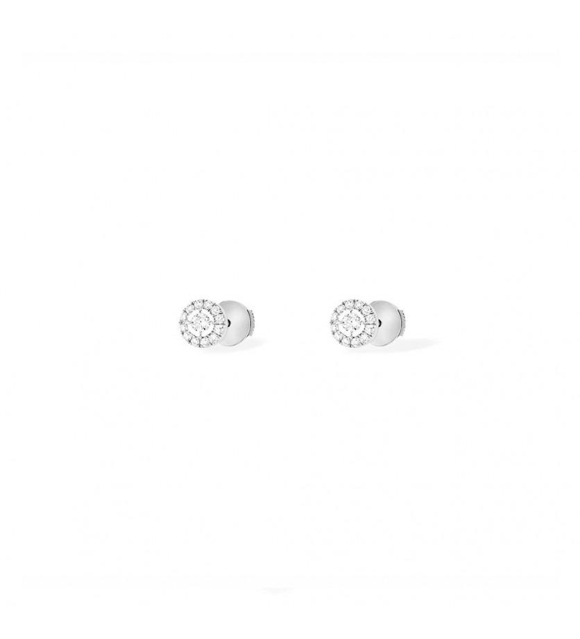 Puces d'oreilles Joy or gris diamants ronds pavées