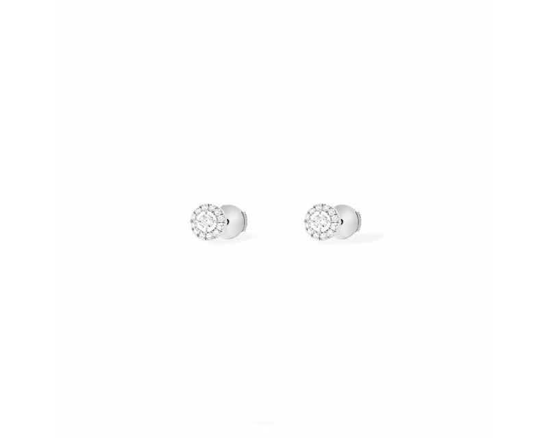 MESSIKA Puces d'oreilles Joy or gris diamants ronds pavées