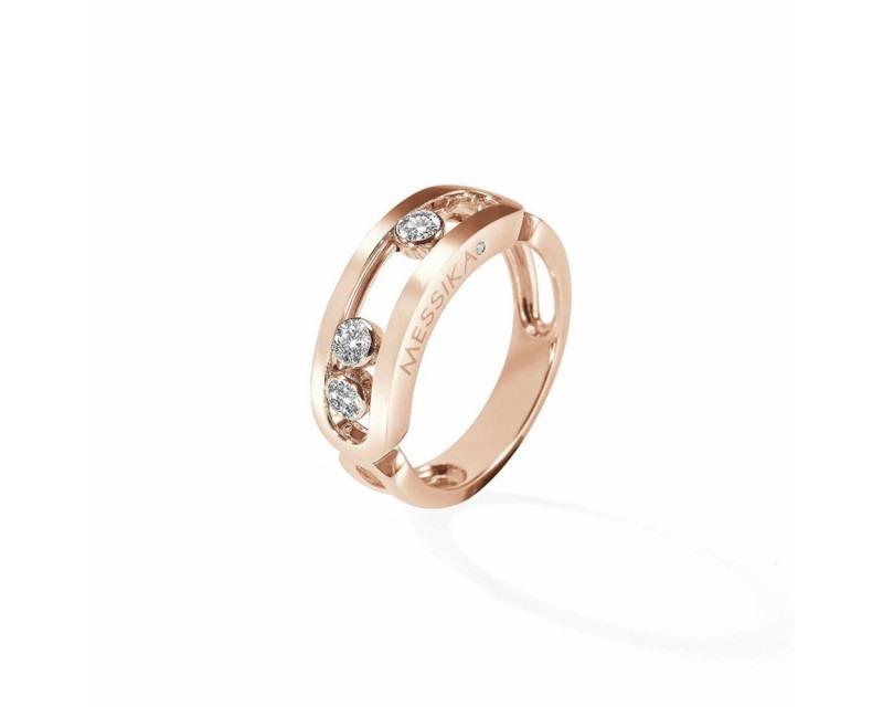 Bague Move or rose diamants