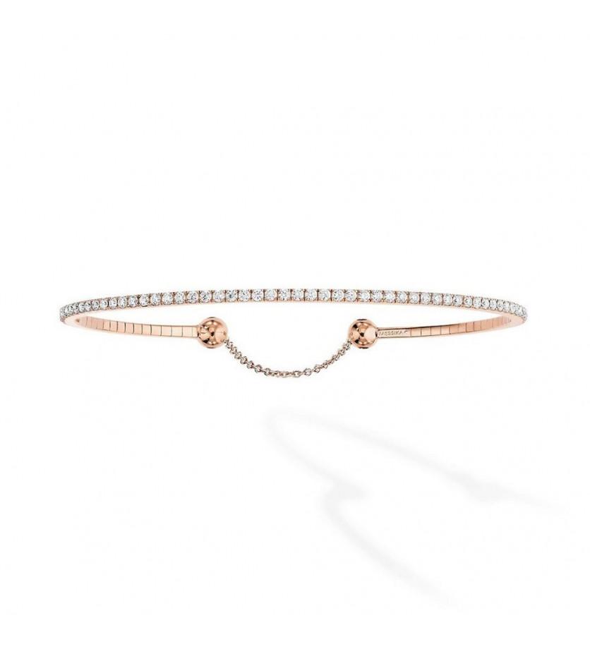 Bracelet Skinny or rose diamants 0.90 ct taille M