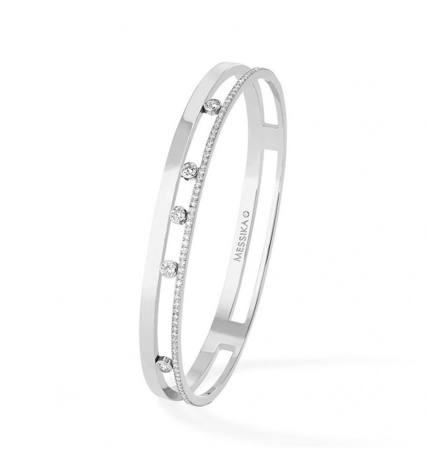 Bracelet Bangle Move Romane M or blanc diamants
