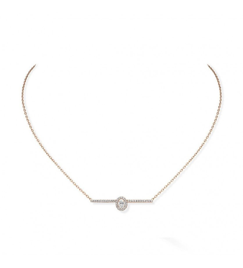 Collier Glam' Amazone or rose pavé diamants