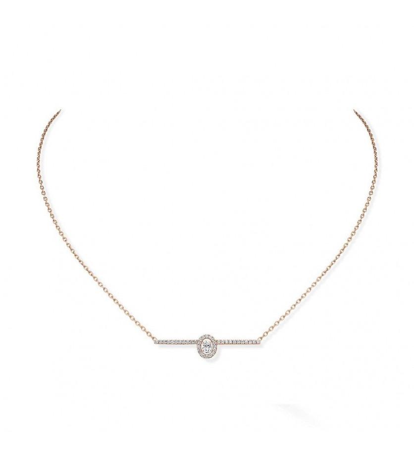 Collier Glam' Amazone or rose sur chaine pavé diamants