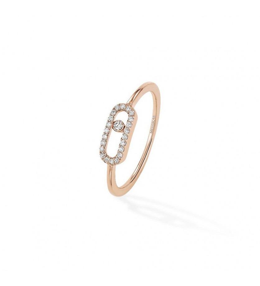Bague Move Uno or rose pavée diamants