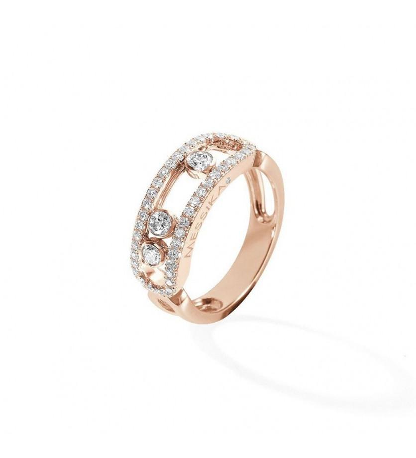 Bague Move or rose pavée diamants