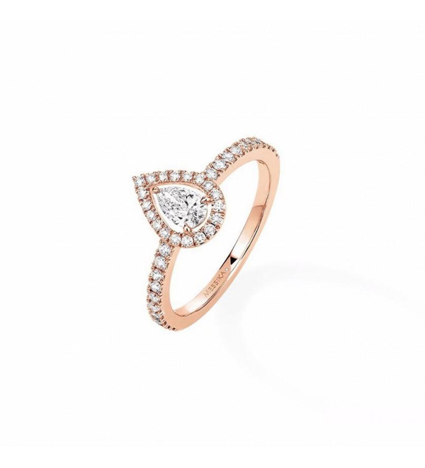 Bague Joy or rose diamants poire 0.25ct pavée diamants