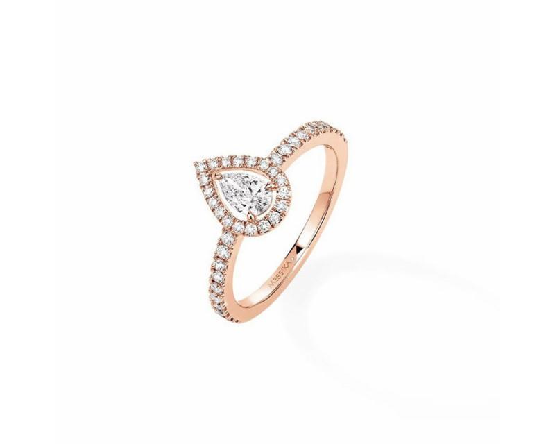 MESSIKA Bague Joy or rose diamants poire 0.25ct pavée diamants