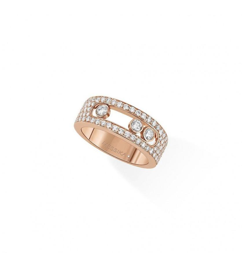 Bague Move Joaillerie or rose pavée diamants