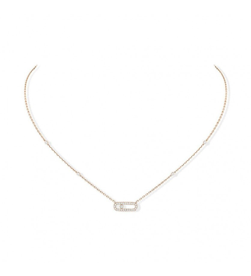 Collier Move Uno or rose pavé diamants sur chaîne or rose