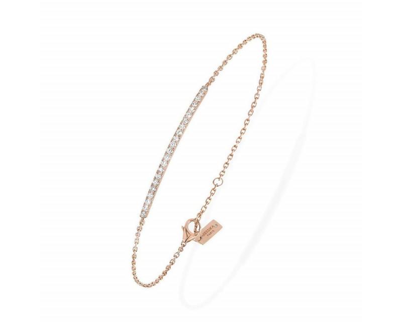 Bracelet Gatsby barrette or rose pavé diamants sur chaîne 17cm, ajustable