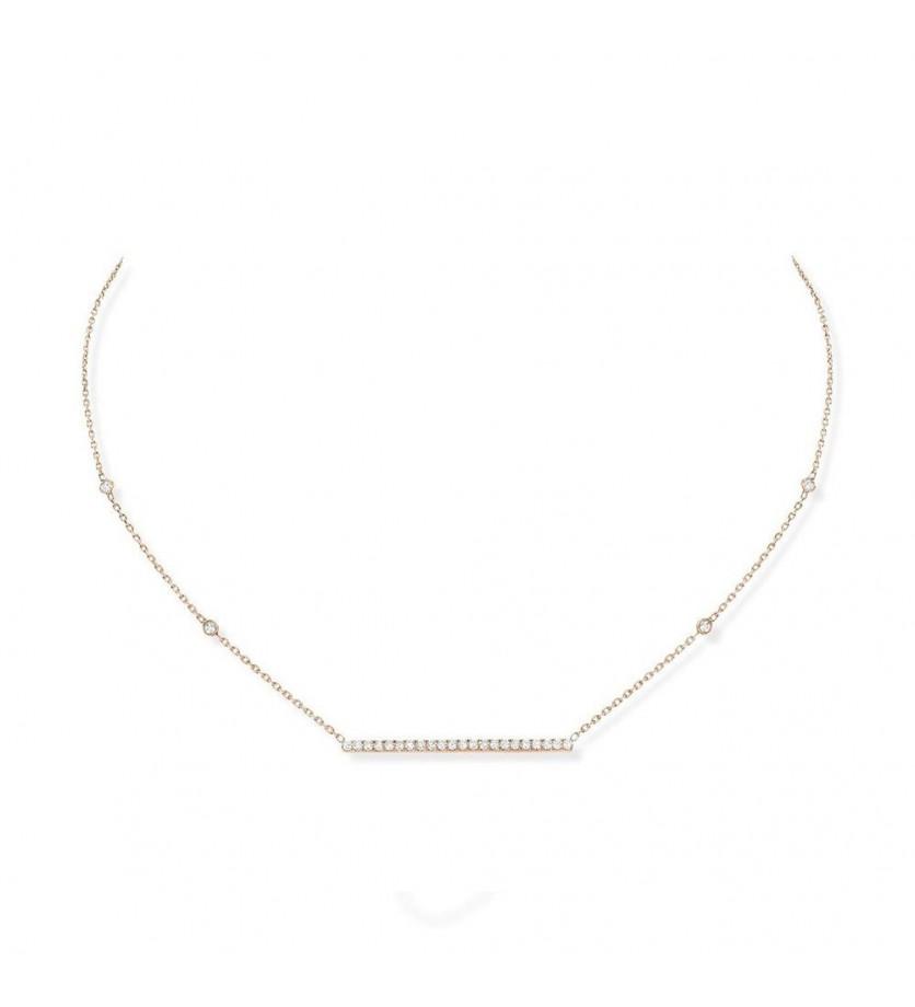 Collier Gatsby barrette horizontale or rose pavé diamants sur chaîne
