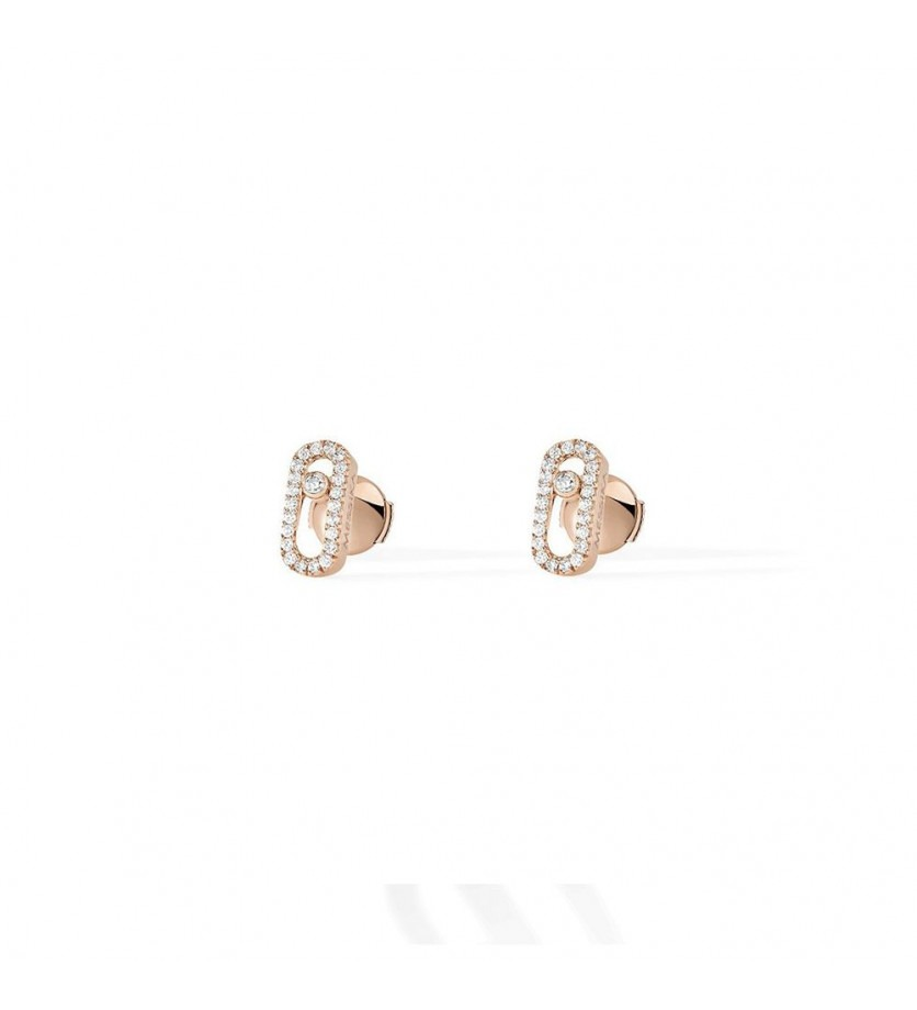 Boucles d'oreille Move Uno or rose diamants