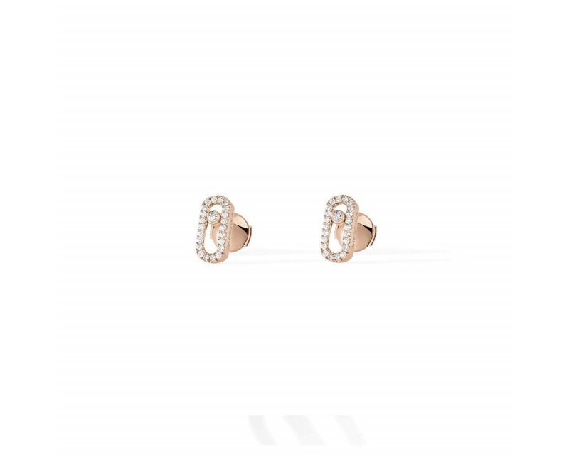 Boucles d'oreille Move Uno or rose diamants
