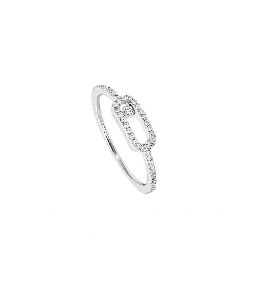 Bague Move Uno or blanc pavée diamants
