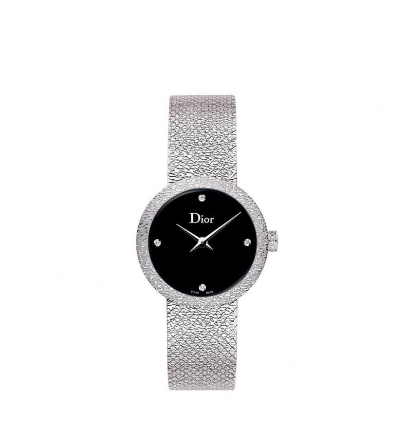Montre D de Dior Satine 25mm Cadran Nacre Noir Diamants