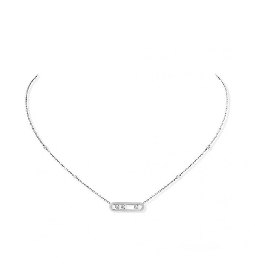 Collier Baby Move or gris diamants sur chaine or gris avec minis diamants sertis clos, longueur ajus