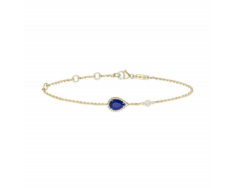 Bracelet chaine Serpent Bohème XS or jaune lapis lazuli 0.65ct 1 diamant 0.03ct
