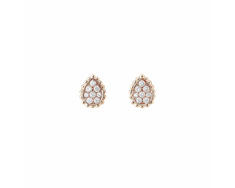 BOUCHERON Puces d'oreilles Serpent Boheme XS or rose diamants 0.25ct