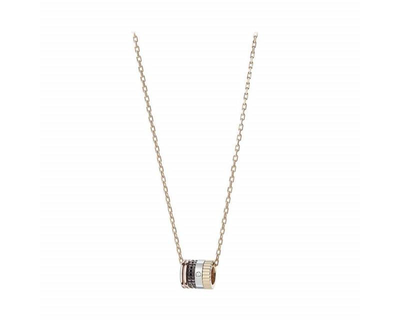 BOUCHERON Pendentif Quatre Classique 3 ors PVD Marron diamant sur chaine