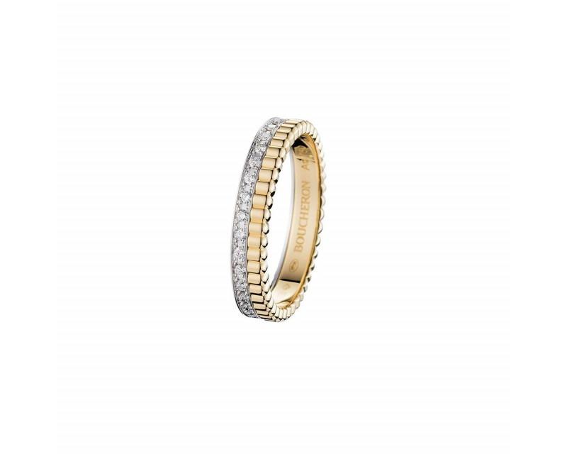 Alliance Quatre Follies or jaune et or gris pavée diamants