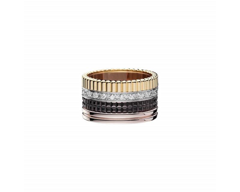 Bague Quatre classique GM or jaune, blanc et rose PVD marron pavée diamants