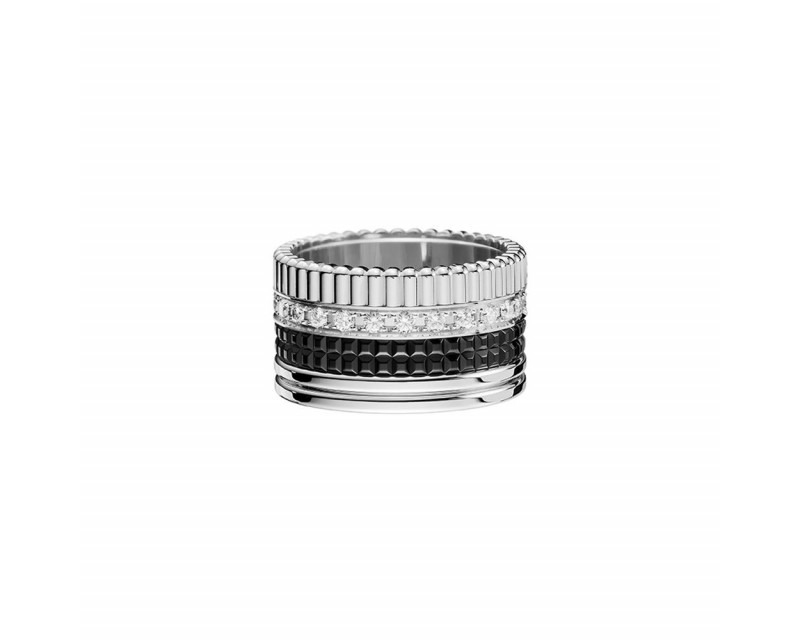 BOUCHERON Bague Quatre Black Edition GM or blanc PVD noir diamants