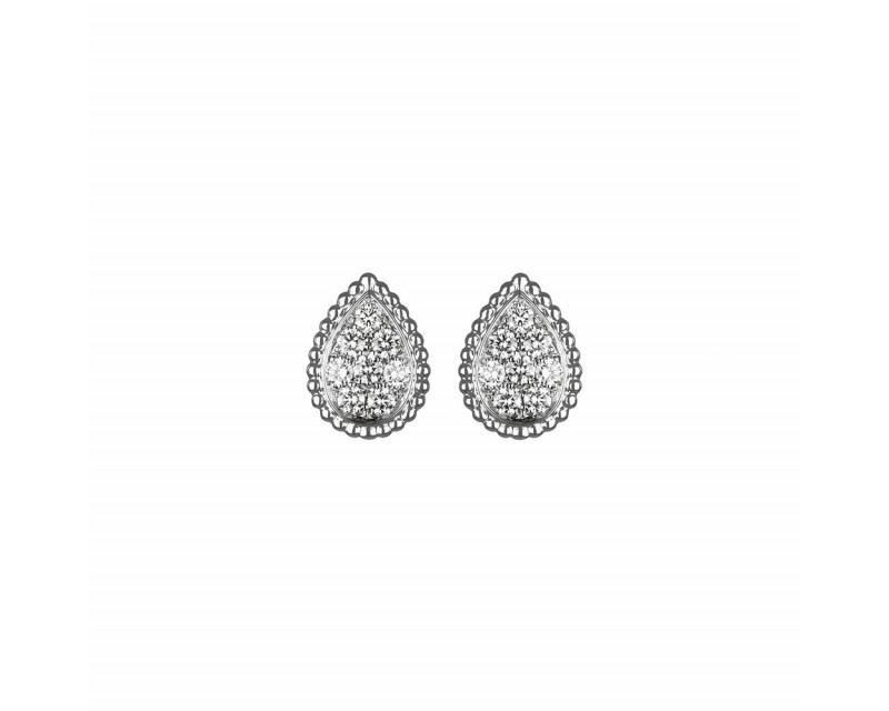 Puces d'oreille Serpent Bohème or blanc pavées diamants