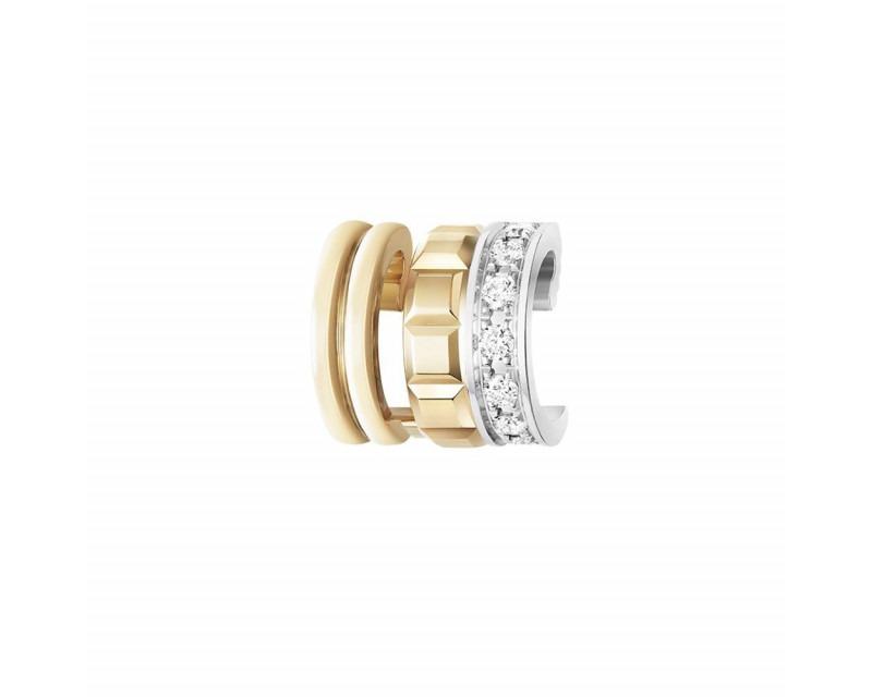 Clip d'oreille Quatre Radiant mini or jaune or blanc diamants