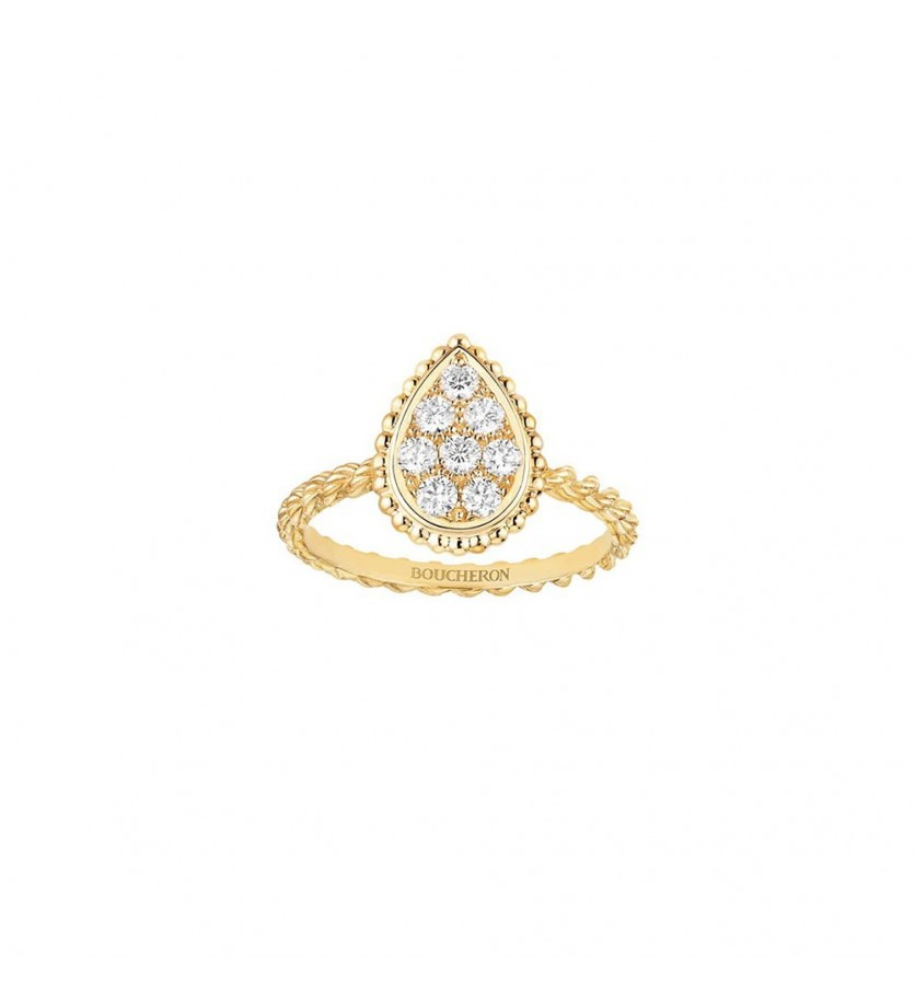 BOUCHERON Bague Serpent Bohème or jaune motif pavé diamants