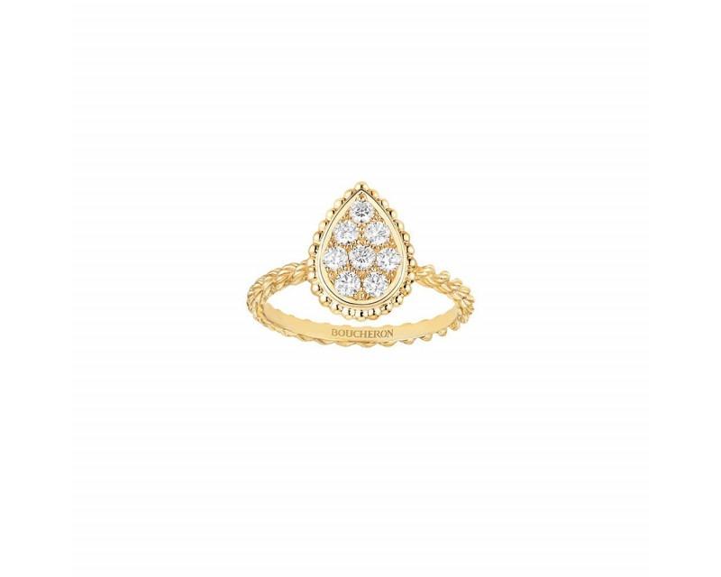 Bague Serpent Bohème or jaune motif pavé diamants