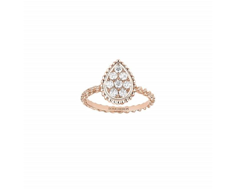 Bague Serpent Bohème PM or rose pavé diamants