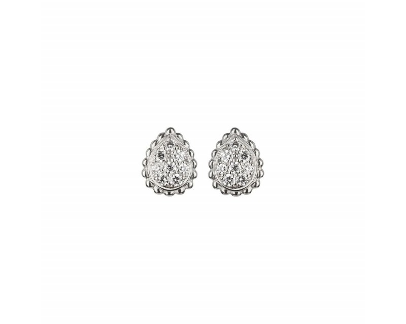 Puces d'oreille Serpent Boheme XS or gris pavé diamants