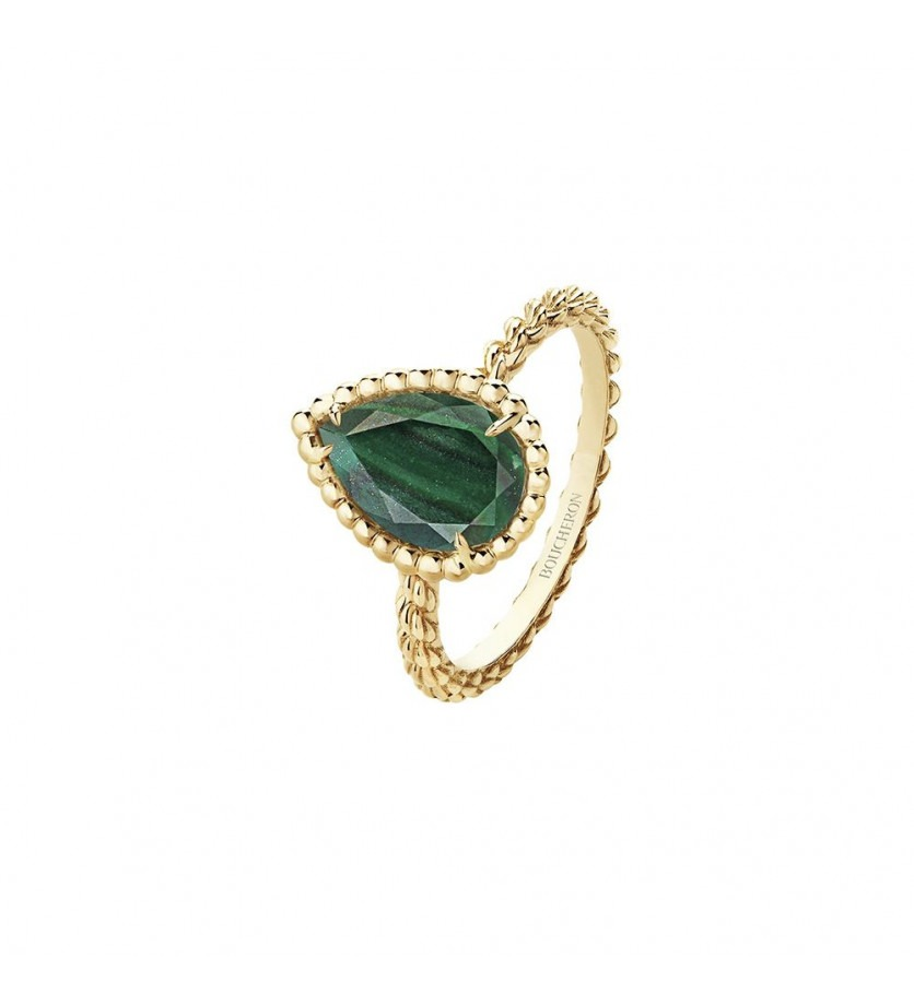 Bague Serpent Bohème S or jaune malachite