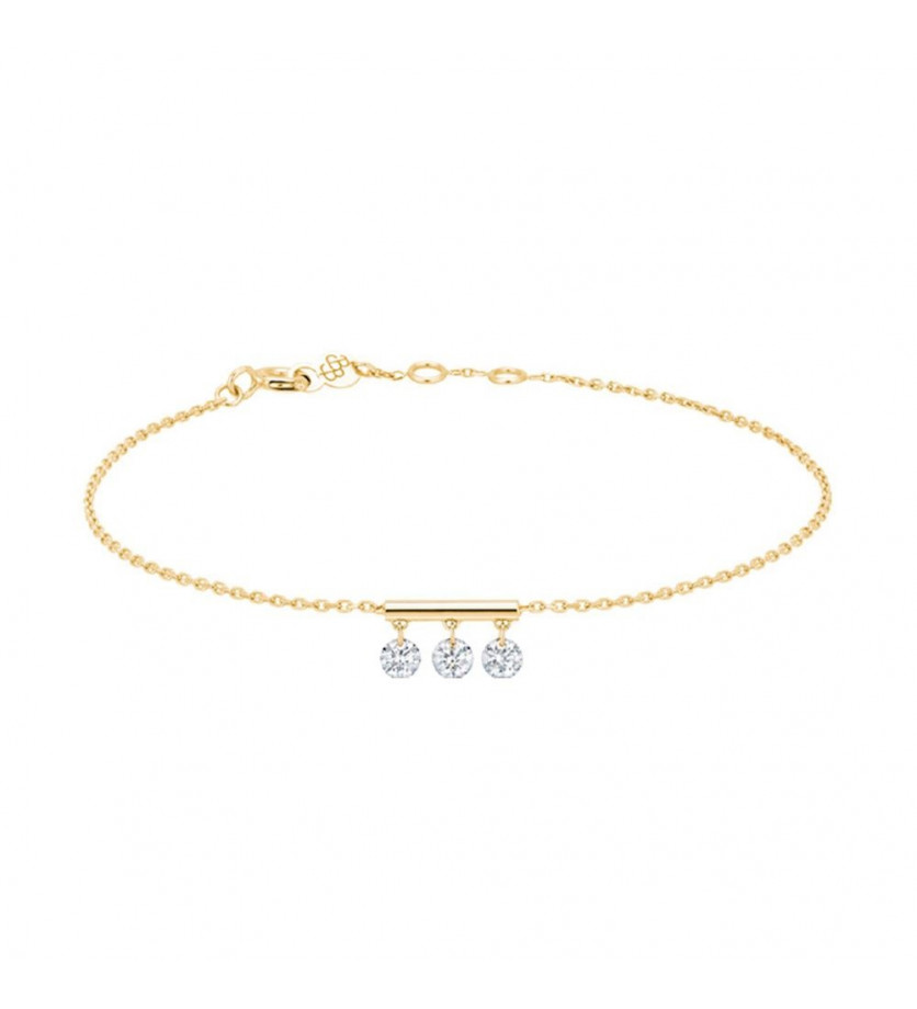 LA BRUNE ET LA BLONDE Bracelet Pampilles or jaune 3 diamants brillants