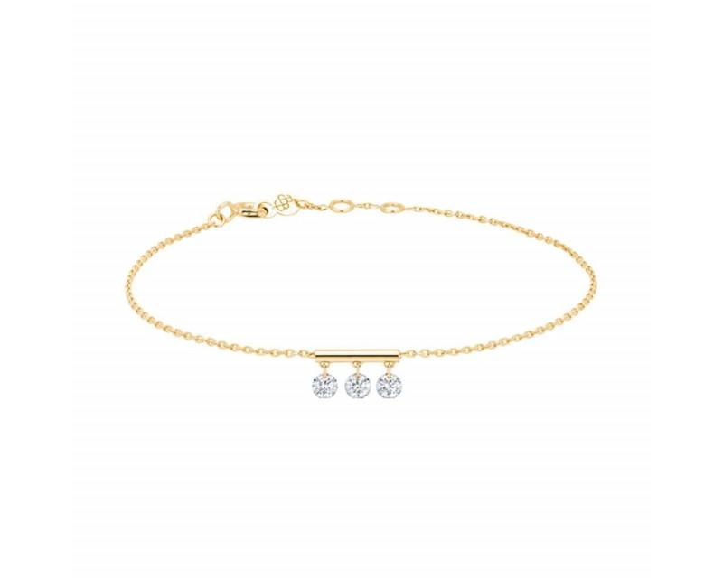 LA BRUNE ET LA BLONDE Bracelet Pampilles or jaune 3 diamants brillants