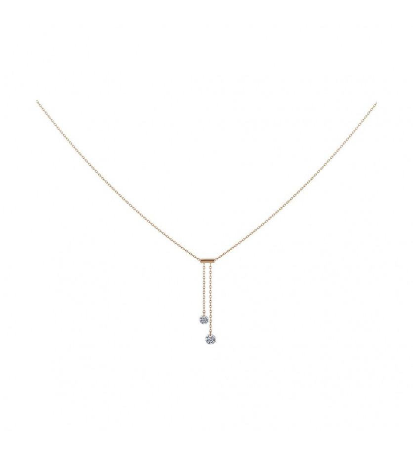 LA BRUNE ET LA BLONDE Collier Cravate 360° or rose 2 diamants brillants