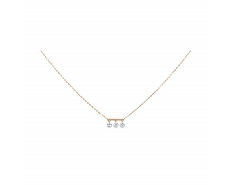 LA BRUNE ET LA BLONDE Collier Pampilles or rose 3 diamants brillants