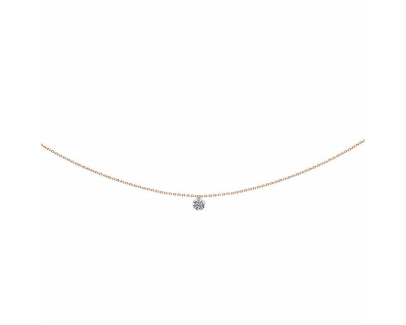 LA BRUNE ET LA BLONDE Pendentif 360° diamant brillant 0,20ct or rose chaine 39,5cm