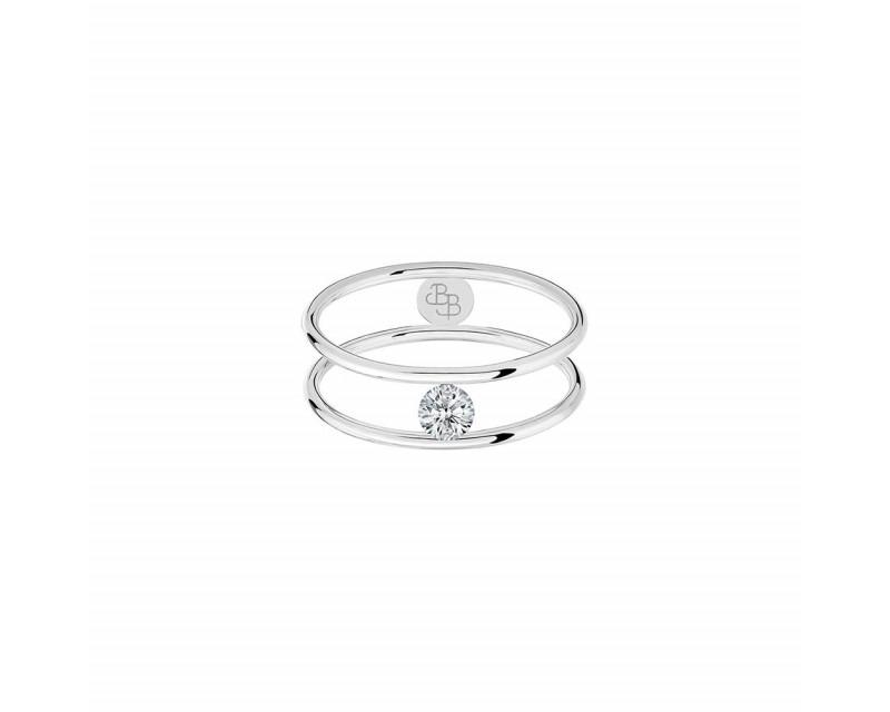 LA BRUNE ET LA BLONDE Bague Hula-Hoop diamant brillant 0.20cts or blanc