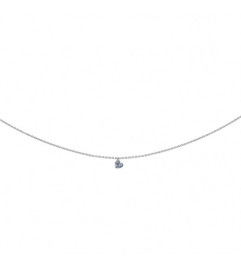 LA BRUNE ET LA BLONDE Pendentif 360° or gris diamant coeur 0,30ct