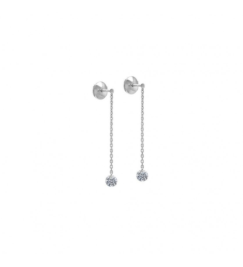 LA BRUNE ET LA BLONDE Pendants d'oreille 360° or gris 2 diamants 2x 0,20ct