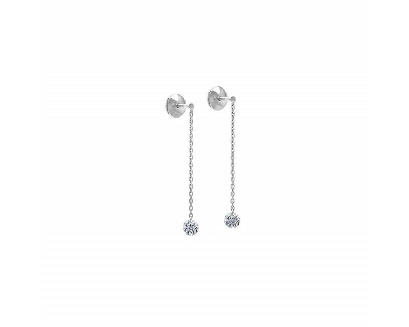 LA BRUNE ET LA BLONDE Pendants d'oreille 360° or gris 2 diamants 2x 0,20ct