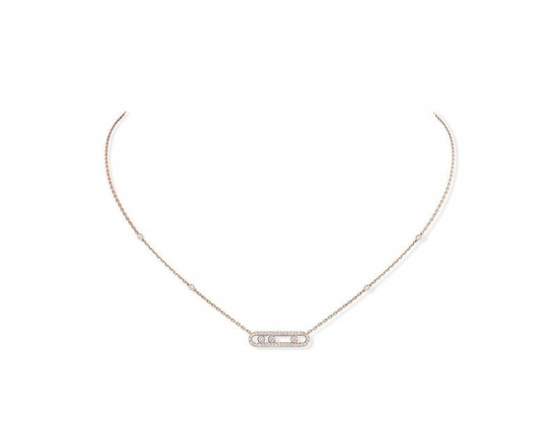 Collier Baby Move or rose diamants