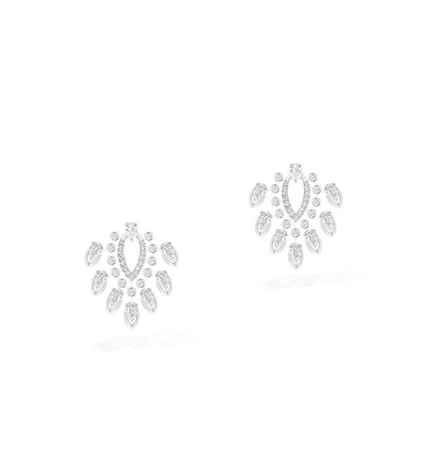 Boucles d'oreilles Desert Bloom or blanc diamants taille poire et diamants taille brillant
