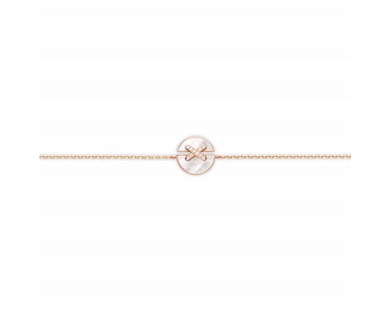 CHAUMET Bracelet Jeux de Liens Harmony petit modèle (13mm) or rose, nacre, liens pavés diamants sur