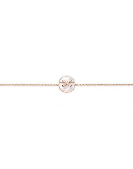 Bracelet Jeux de Liens Harmony petit modèle (13mm) or rose, nacre, liens pavés diamants sur chaîne