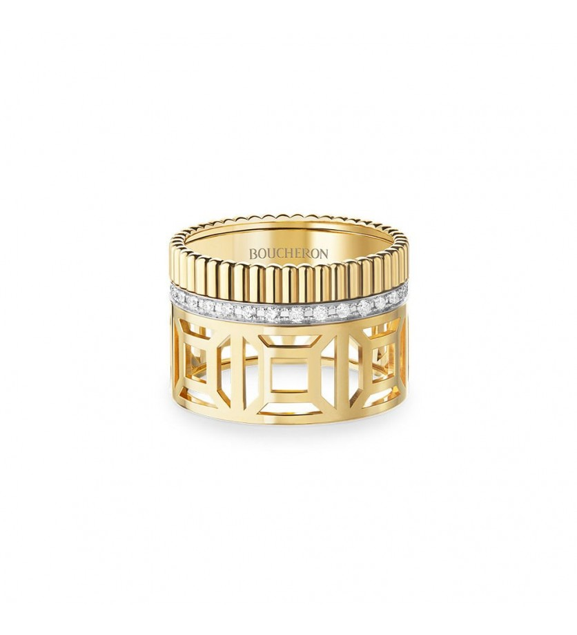 BOUCHERON Bague Quatre Radiant Openwork L or jaune et un rang or blanc pavé diamants