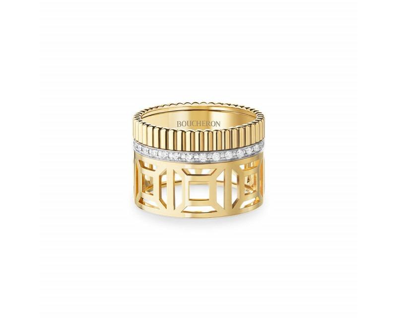 Bague Quatre Radiant Openwork L or jaune et un rang or blanc pavé diamants