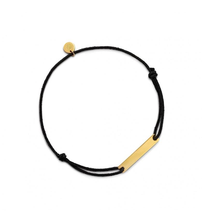 ARTHUS BERTRAND Bracelet plaque Réglisse longueur 22 mm or jaune sur cordon noir